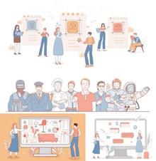 多种情景的人物插画创意设计图矢量图片