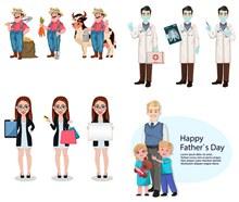 医生与农夫等人物插画创意矢量下载
