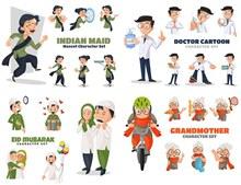 医生与女佣等职业人物创意矢量图片