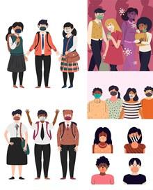 戴口罩的人物插画创意设计矢量图