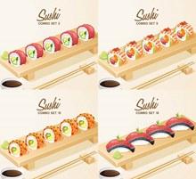 整齐摆放的一排寿司美食主题图矢量图下载