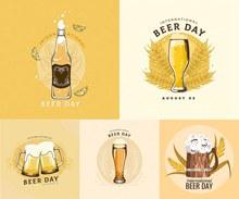 溢出的啤酒国际啤酒节创意矢量图片