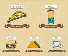 披萨三明治等快餐单品设计矢量