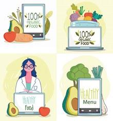 营养师人物与蔬果蔬菜创意矢量图下载
