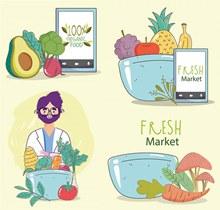 新鲜食材营养搭配与人物等矢量图