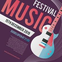 吉他摇滚音乐节海报矢量素材