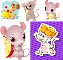 奶酪与卡通小老鼠主题集V2矢量图下载