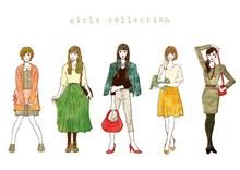 5款彩绘时尚女性设计矢量图片