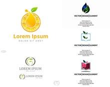 叶子元素等创意标志主题设计图矢量图片