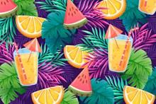 夏日果汁背景图矢量素材