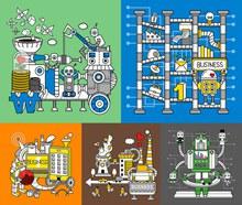 机器化作业卡通创意设计V02矢量图
