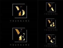 金色双字母组合创意标志4矢量图下载