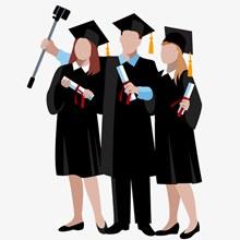 男女学生拍毕业照插画矢量图下载
