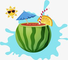 炎热夏天西瓜饮料解渴矢量图