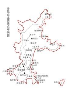 普陀山景区地图图矢量下载