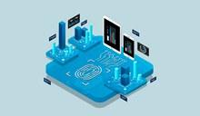 等距设计概念2.5D技术插画矢量图片