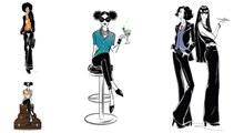 时尚服饰人物模特插画创意矢量图下载
