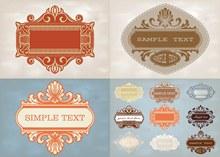 古典怀旧风格花纹边框主题矢量图下载