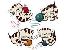 可爱猫咪与毛线矢量图片