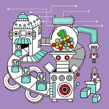 卡通机械化流程图矢量
