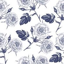 手绘花卉无缝背景(2)矢量图片