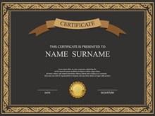 认证和证书模板矢量图下载