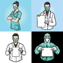 手持空白纸张的医生人物等矢量图