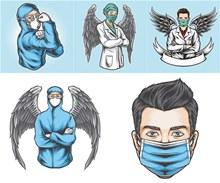 抗击新冠肺炎的英雄们插画矢量图片