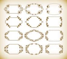 复古花纹边框设计矢量图