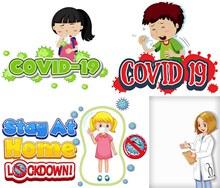 医生与染病的儿童创意设计矢量素材