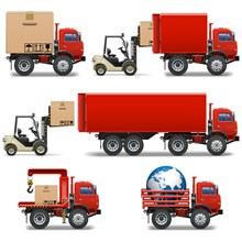 货车和叉车矢量图片
