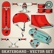 滑板运动元素矢量