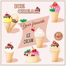 美味的甜筒冰淇淋矢量下载