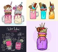 饼干冰淇淋与鸡尾酒等创意矢量下载