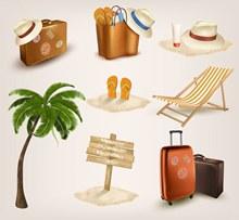 海滩旅游元素矢量图片