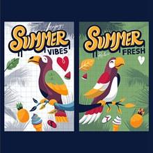 夏日氛围鹦鹉海报矢量图下载