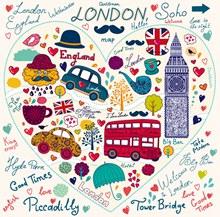 手绘心形浪漫伦敦元素矢量图