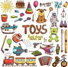 手绘儿童玩具矢量图