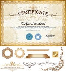华丽认证证书模板矢量下载