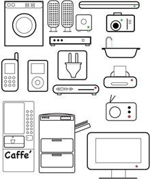 线描生活用品和家用电器矢量