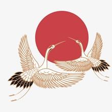 中国风古风仙鹤太阳矢量图片