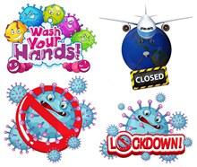 新冠病毒细胞卡通创意设计矢量图片