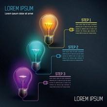 创意彩色灯泡信息图矢量素材