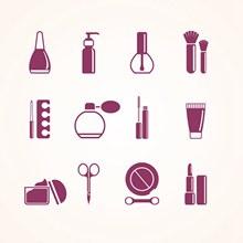化妆品和化妆工具图标矢量下载