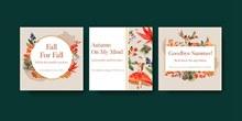水彩童话风动物卡片矢量素材