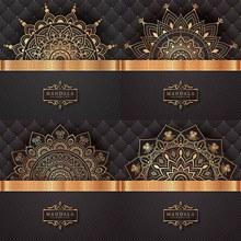 古铜色的几何图案纹样主题矢量图下载