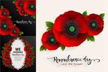 红色罂粟花朵边框创意设计矢量图片