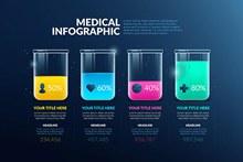 多彩烧杯医学信息图表矢量图下载