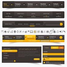 黄黑配色网页导航菜单设计矢量下载