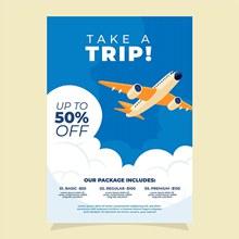 旅行画报式销售宣传单矢量下载